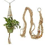 42 inch colour bead flowerpot plant hanger macrame jute rope