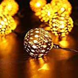 Icicle Solar LED Christmas String Lights Moroccan Ball Decorative - 10leds 8 Modes Fairy Lighting for Outdoor - Garden - Christmas Tree - Patio - Wedding - Party and Holiday Decorations (Warm White)