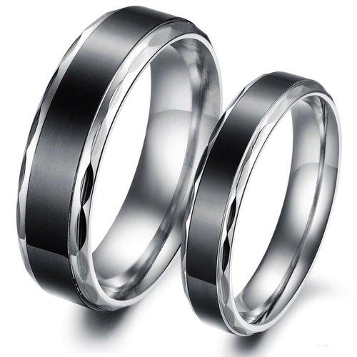 Fashion Lover Couple Rings Stainless Steel Concise Black Engagement Gj293 (Men's Rings, 7)