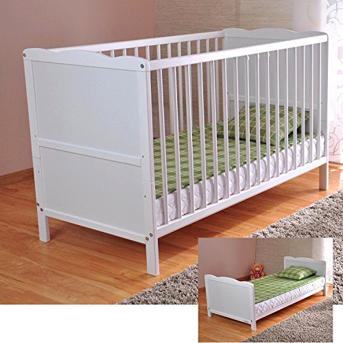 free-uk-delivery-white-solid-wood-baby-cot-bed-deluxe-foam-mattress-converts-into-a-junior-bed-3-pos