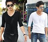 M's style 2カラー Tシャツ メンズ 無地 七分袖 カットソー Vネック カジュアル ファッション コーディネート 男性 用 トップス ホワイト ブラック