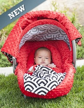 Carseat Canopy 5 Pc Whole Caboodle (Soloman) Baby Infant Car Seat Cover Kit With Minky Fabric front-3120