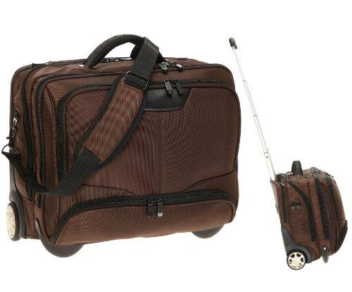 Dermata Notebooktasche Notebooktrolley 17 Zoll Pilotenkoffer Trolley [ Laptop max. 41 x 29 cm] mit Schultergurt / BRAUN