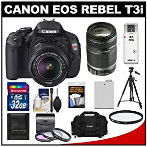 Canon EOS Rebel T3i 18.0 MP Digital SLR Camera Body & EF-S 18-55mm IS II Lens with 55-250mm IS Lens + 32GB Card + Battery + Case + Filter Set + Tripod + Cleaning Kit