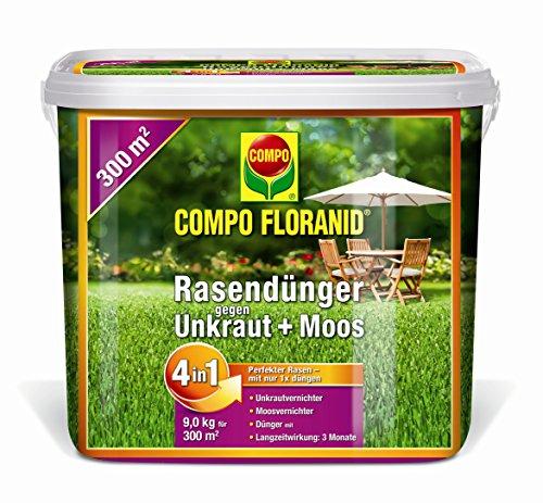 26173 Floranid Rasendünger gegen Unkraut und Moos 4-in-1, 9 kg für 300 m²