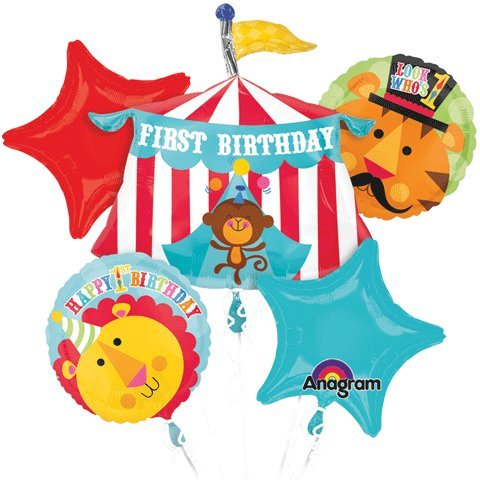 Fisher Price Happy Birthday Circus Animals Mylar Foil Balloon Bouquet Set - 1