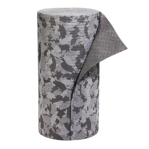 "New Pig Mat116 Polypropylene Gray Ham-O Hamouflage Pattern Absorbent Mat Roll, 47.4 Gallon Absorbency, 150' Length X 32"" Width, Gray/Black front-961866"