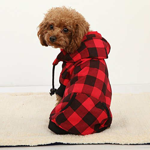 4 Pets Large Dog Plaid Shirt Coat Hoodie Pet Winter Clothes Warm and Soft Red M by 4pets (Details Plaid Coat compare prices)