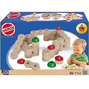 HEROS Kettenbausteine aus Buchenholz, hergestellt in Deutschland, 44-teilig || Holz 44 Ketten Bausteine Turm Bausatz Bau Set Bauklötze Kinder Spielzeug