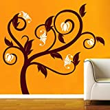 Flowers On Tree Wall Sticker Decal - B00RTJ3GUQ
