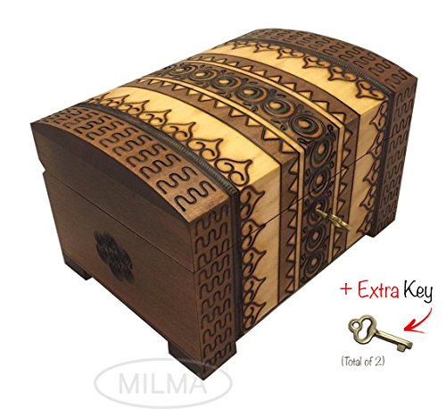 Polish Handmade Wooden Chest Linden Wood Jewelry Keepsake Box w/Lock and Key (Linden Wood compare prices)