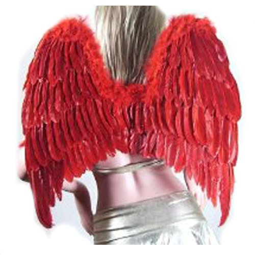 SACAS Large Red Feather Angel wings Gothic w/ Free Halo for women adults and men