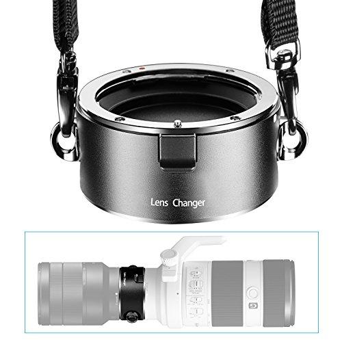 Neewer® Double Echangement Rapide Porte Objectif Changeur en Alliage d'Aluminium avec Lanière pour Sony E-Monture Objectifs Jusqu'à 10kg / 22b