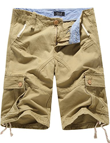 SSLR Men's Summer Cotton Cargo Shorts (42, Khaki) Cargo Climbing Shorts