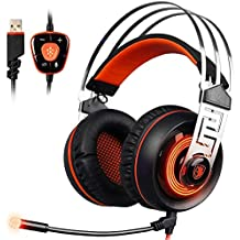 Sades A7 7.1 Surround Sound Stereo Gaming Headset With USB LED MIC And Vibration Headphone For PC Black And Orange...