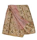 Vintage Saree Silk Blend Floral Printed Fabric Women Dress Wrap 5yd Peach Indian Sari Recycled Craft Fabric Home Décor Curtain Drape