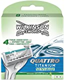 Wilkinson Sword Quattro Titanium Sensitive Razor Blades - Pack of 8 Blades