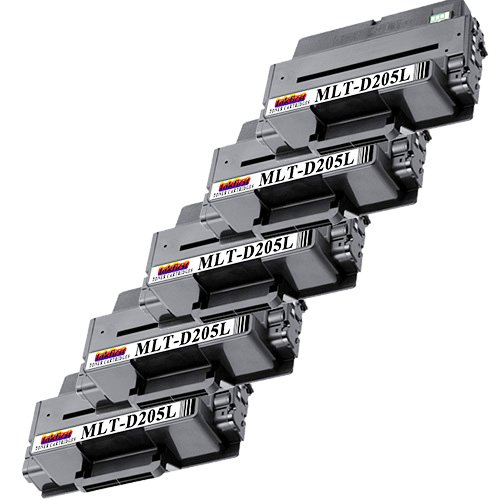 5 Toner Cartridges MLT-D205L ( MLTD205L ) Compatible Remanufactured for Samsung D205L Black