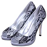 NEW WOMEN'S HIGH HEEL SATIN LACE PEEP-TOE EVENING SHOES IN UK SIZES 3-8