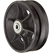 "RWM Casters V-Groove Wheel with Straight Roller Bearing, 6"" Diameter, 2"" Width, 1000 lb. Capacity"