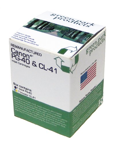 Canon PG 40 and CL 41 Premium Remanufactured Ink Cartridges by Green Park Products The box contains 1 Canon PG 40 Black and 1 Canon CL 41 Tri Color inkjet Cartridges For use in Canon PIXMA iP1600 Canon PIXMA iP1700 Canon PIXMA iP1800 Canon PIXMA iP2600 Can