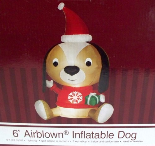 Dog Santa Claus 6 Ft. Tall Christmas Airblown Inflatable