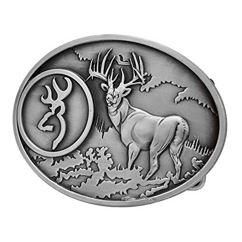Buckle Rage Adult Unisex Buck Hunter Whitetail Deer Emblem Belt Buckle Silver