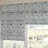 Presto Bazaar Black N White Floral Tissue Embroidered Window Blind (84 Inch X 44 Inch)
