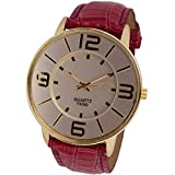 Meily(TM) Womens Numerals Gold Dial Leather Analog Quartz Watch