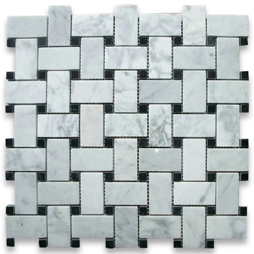 carrara-white-italian-carrera-marble-basketweave-mosaic-tile-black-dots-1-x-2-polished