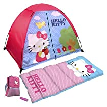 Hello Kitty 4 Piece Fun Camp Kit + Dome + Sleeping Bag + Flashlight