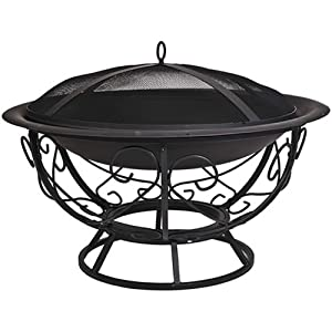 CobraCo FB8002 Fire Pit with Scroll Base with Screen and Cover