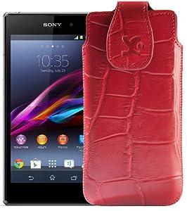 Original Suncase Tasche für / Sony Xperia Z1 Compact / Leder Etui Handytasche Ledertasche Schutzhülle Case Hülle / in croco-rot
