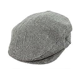 Limited Edition Irish Tweed Cap White & Black Herringbone