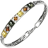 "Multicolor Amber Sterling Silver Square Bangle Bracelet 7.5"" 19cm"