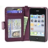 Navor Folio Wallet Case for iPhone 4 4S Pockets for Cards & Money, Clear Window Slot for License ID ( Purple )