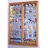 XL Mirror Backed and 11 Glass Shelves Shot Glasses Display Case Holder