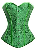 Gothic Brocade Stain lace up Boned Showgirl Overbust Corset Bustier Top