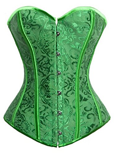 Gothic-Brocade-Stain-lace-up-Boned-Showgirl-Overbust-Corset-Bustier-Top
