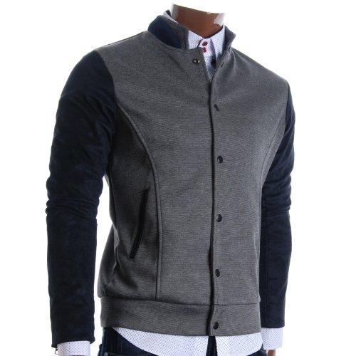 FLATSEVEN Mens Slim Casual Designer Stadium Jacket (JKS301) Grey, L