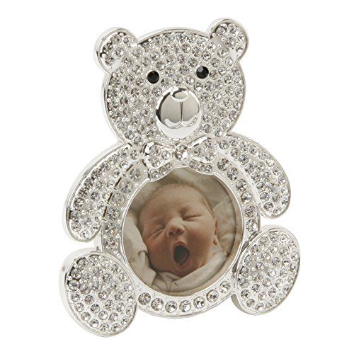Bambino CG247 Silver Plated Teddy Bear Frame, Crystal Inlay