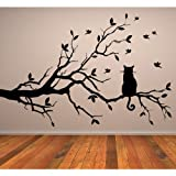 Cat On Branch Wall Sticker Animal Wall Decal Art available in 5 Sizes and 25 Colours Large Light Orange