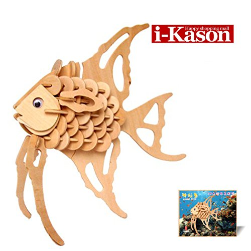 Authentic High Quality i-Kason® New Favorable Imaginative DIY 3D Simulation Model Wooden Puzzle Kit for Children and Adults Artistic Wooden Toys for Children - Angel fish - 1