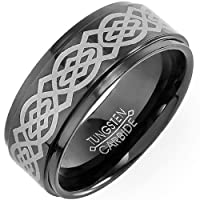 Tungsten Carbide Men's Ring Wedding Band 9MM (0.35 inch) Black with Laser Etched Celtic Design Comfort Fit (Available in Sizes 8 to 12) size 9