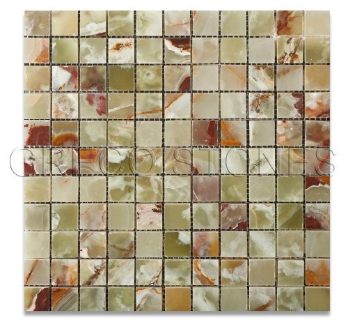 Multi Green Onyx Polished 1 X 1 Mosaic Tile on Mesh - 6