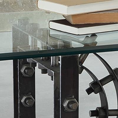 WOLF MÖBEL Couchtisch aus Eisen mit Glasplatte 120x60 cm Steam