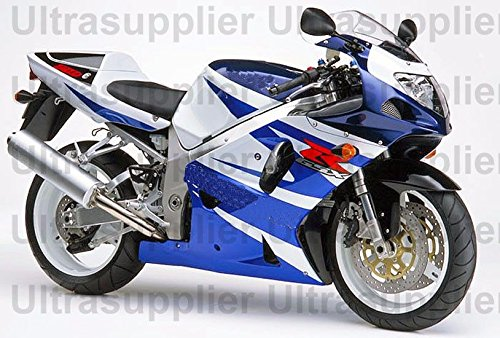Blue & White Complete Injection Fairing for 2001-2003 Suzuki GSXR 600 750 (2001 Gsxr 750 Parts compare prices)