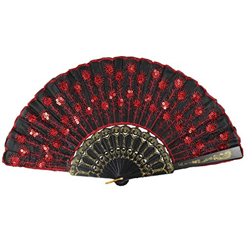 Newstarfactory Peacock Feather Red Sequins Design Black Plastic Folding Hand Fan With Special Gift