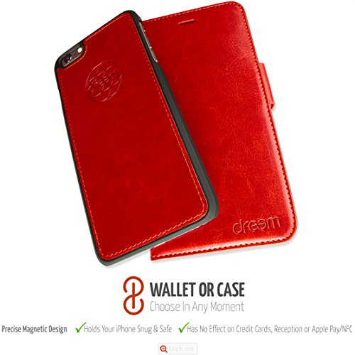 Dreem iPhone 6/6s Plus Case with Detachable Wallet Folio, 2 Kickstands, Gift Box, Premium Vegan Leather, Fibonacci Series, Red