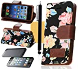 OMIU(TM) Flower Floral Style Wallet Flip Magnet Stand Leather Case Cover with Credit Card Holder for Apple iPhone 5 5S(Black), with Screen Protectors, Stylus and Cleaning Cloth